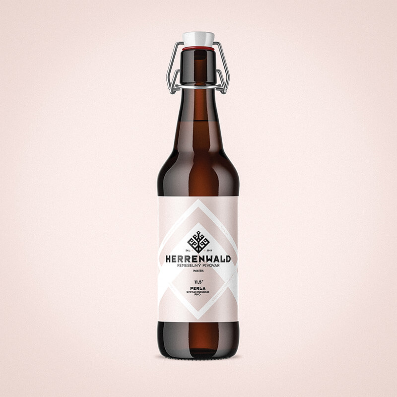 Beer label, packaging design - PERLA for HERRENWALD craft brewery