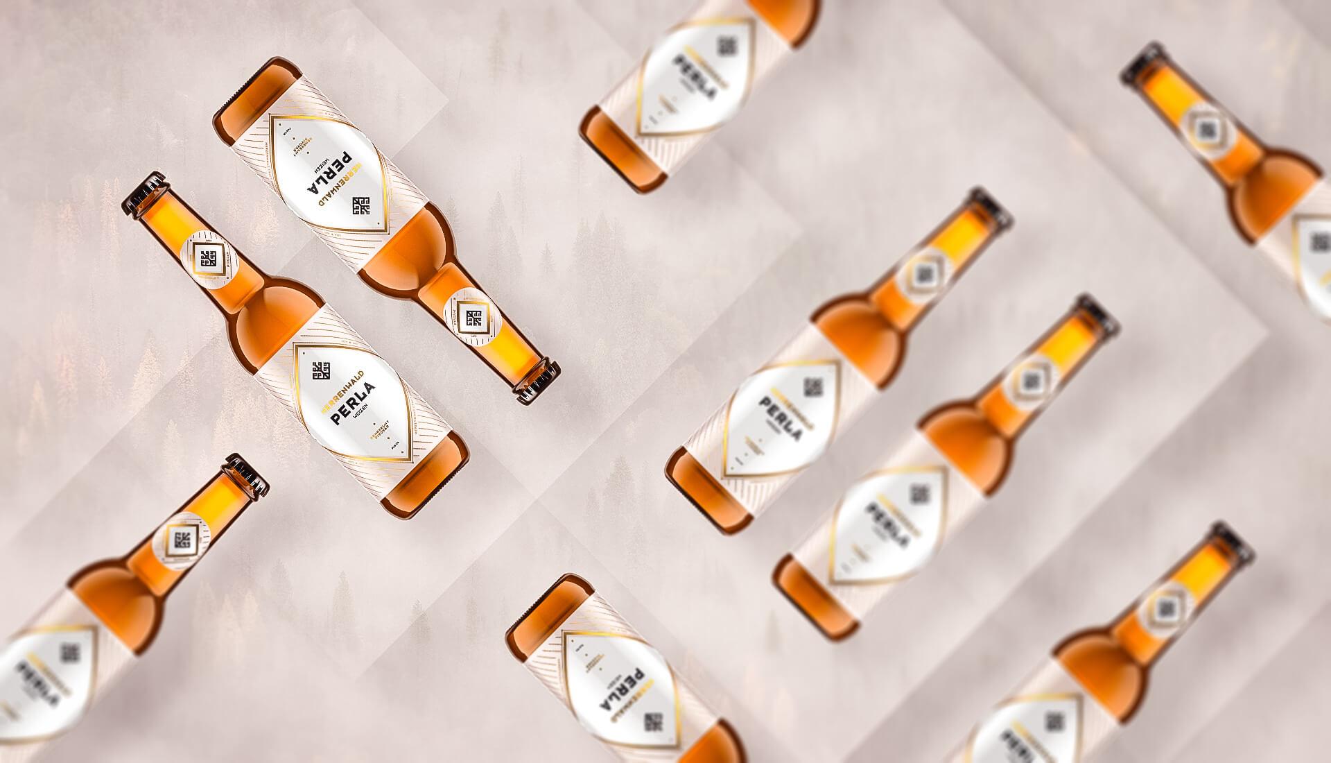 Beer label packaging design PERLA -HERRENWALD craft brewery 0.33L