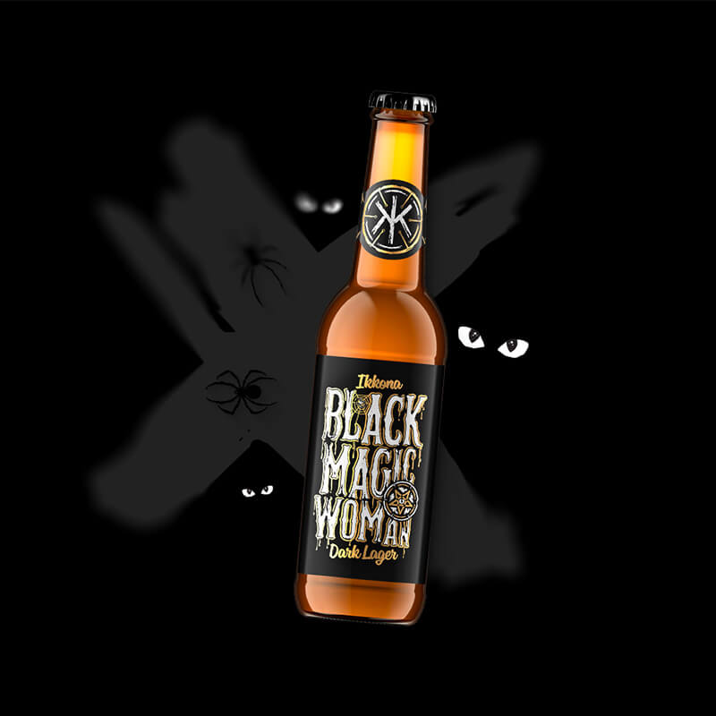Craft beer label, packaging design Black Magic Woman for IKKONA craft brewery