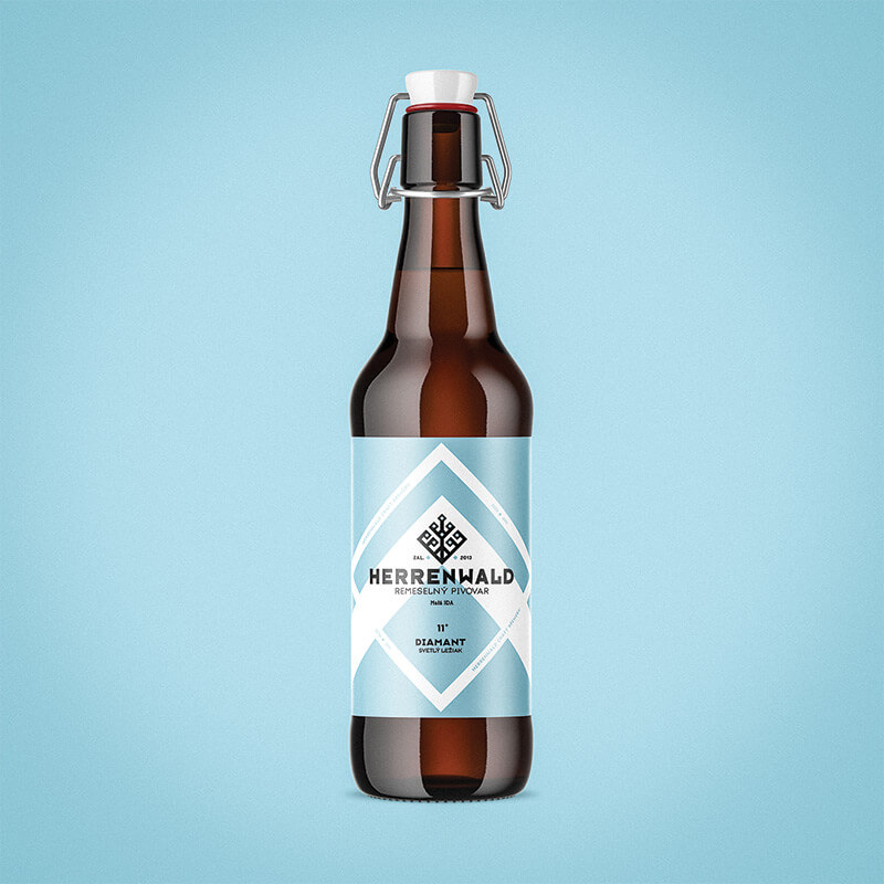 Etiketa na pivo, obalový dizajn DIAMANT remeselný pivovar HERRENWALD