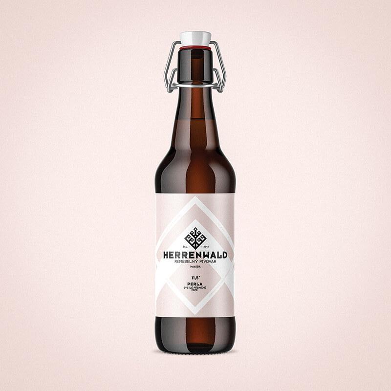 Etiketa na pivo a obalový dizajn PERLA pre remeselný pivovar HERRENWALD