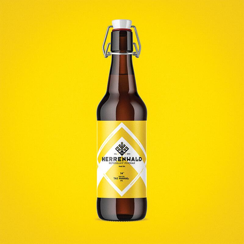 Etiketa na pivo a obalový dizajn TAJ MAHAL pre remeselný pivovar HERRENWALD