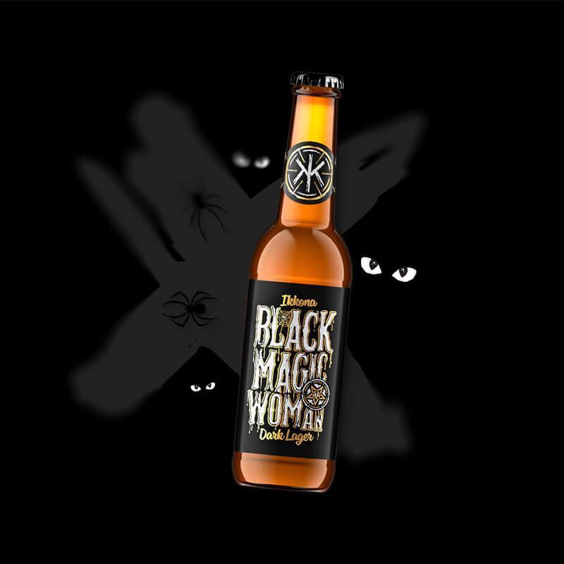 Etiketa na pivo, obalový dizajn Black Magic Woman pre remeselný pivovar IKKONA