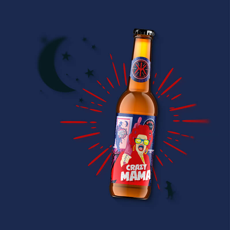 Etiketa na pivo, obalový dizajn CRAZY MAMA pre remeselný pivovar IKKONA