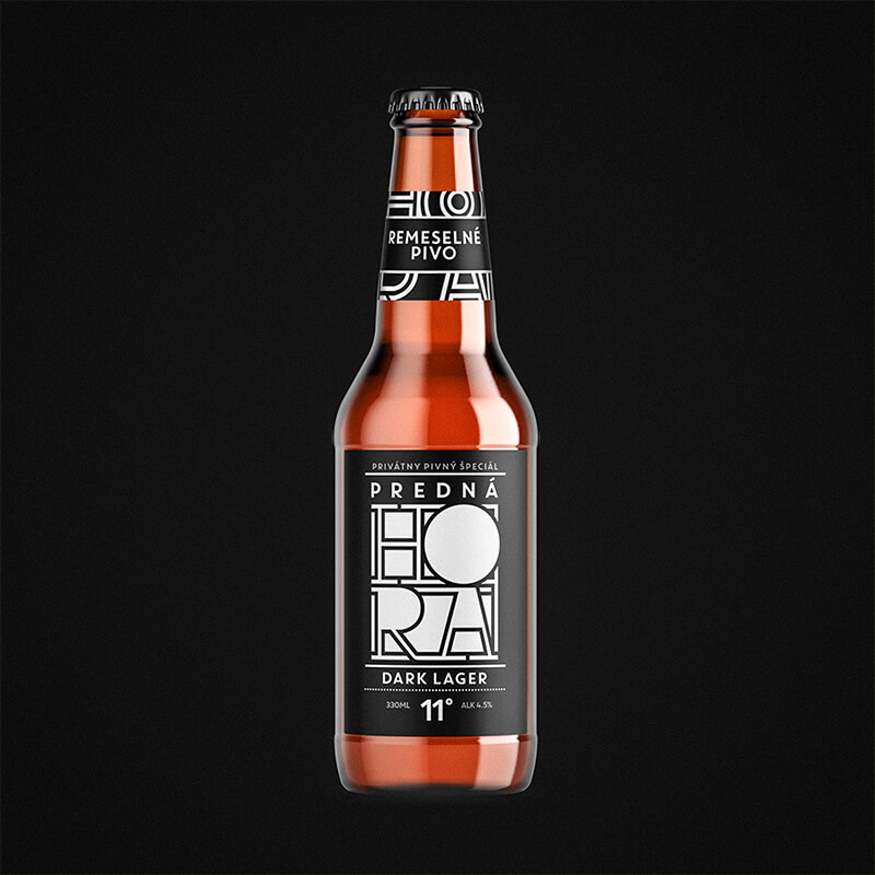Etiketa na pivo, obalový dizajn DARK LAGER Predná Hora