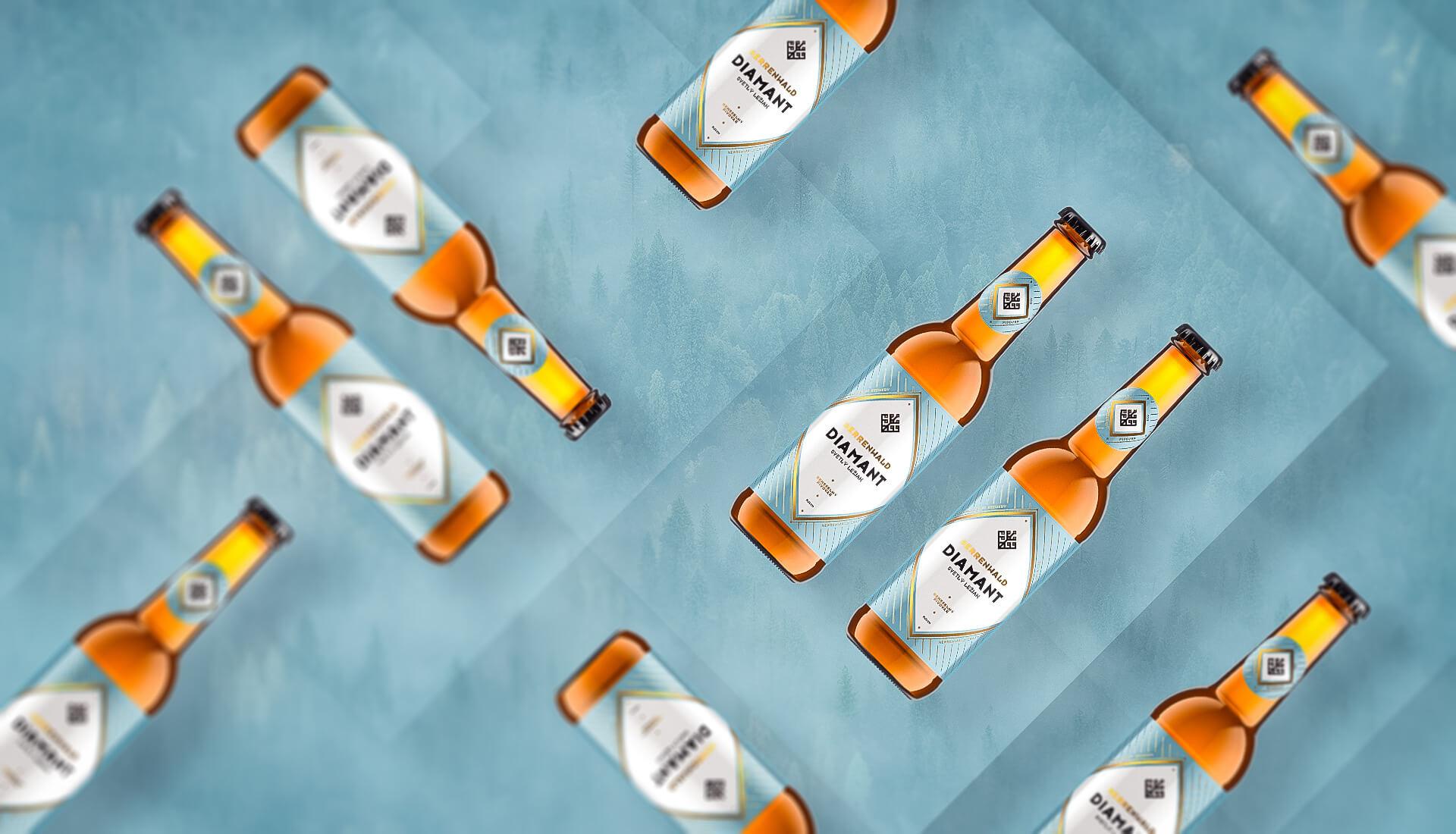 Etiketa na pivo, obalový dizajn DIAMANT remeselný pivovar HERRENWALD 0.33L