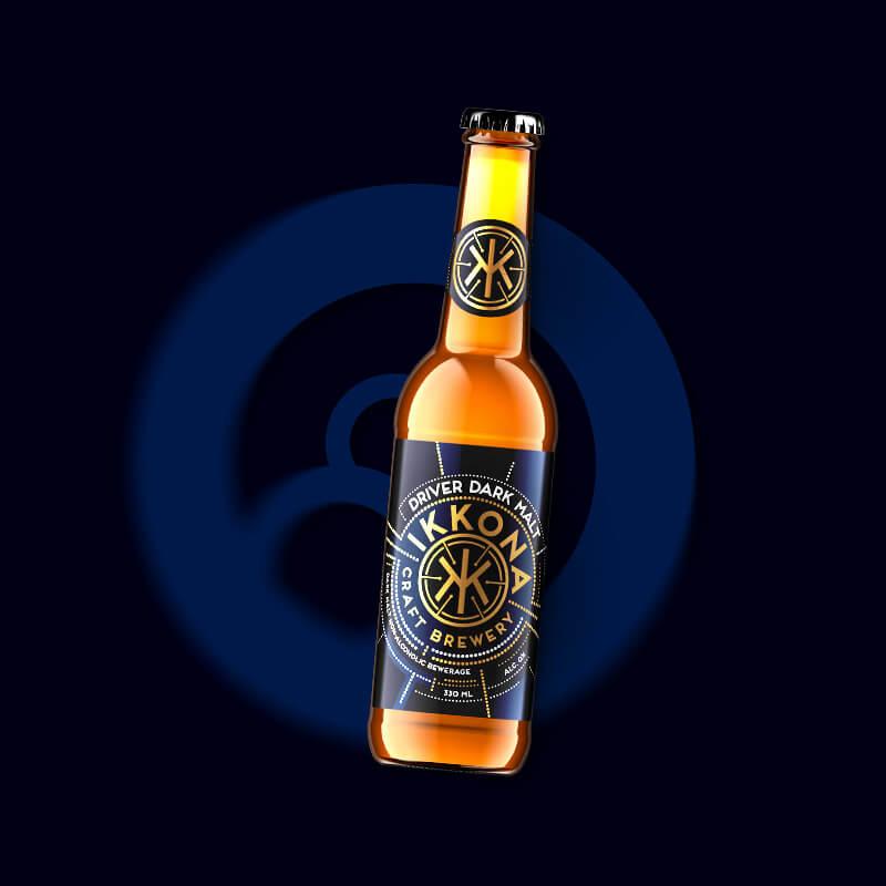 Etiketa na pivo, obalový dizajn Driver Dark Malt pre remeselný pivovar IKKONA