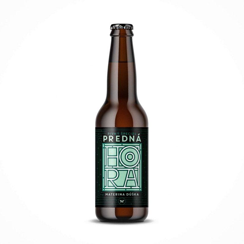 Etiketa na pivo, obalový dizajn Materina dúška Predná Hora
