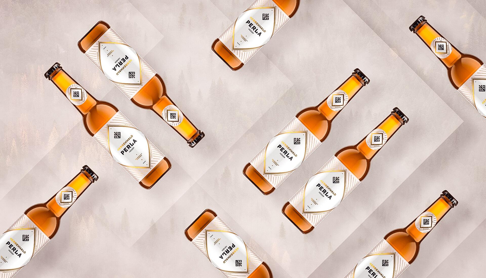 Etiketa na pivo, obalový dizajn PERLA remeselný pivovar HERRENWALD 0.33L 2