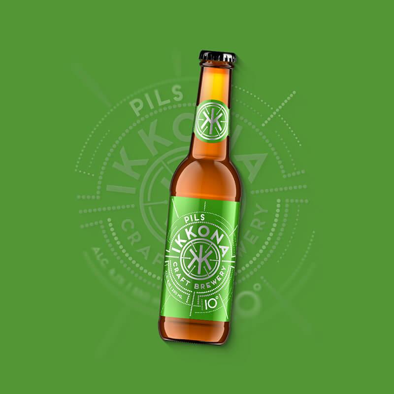 Etiketa na pivo, obalový dizajn PILS pre remeselný pivovar IKKONA