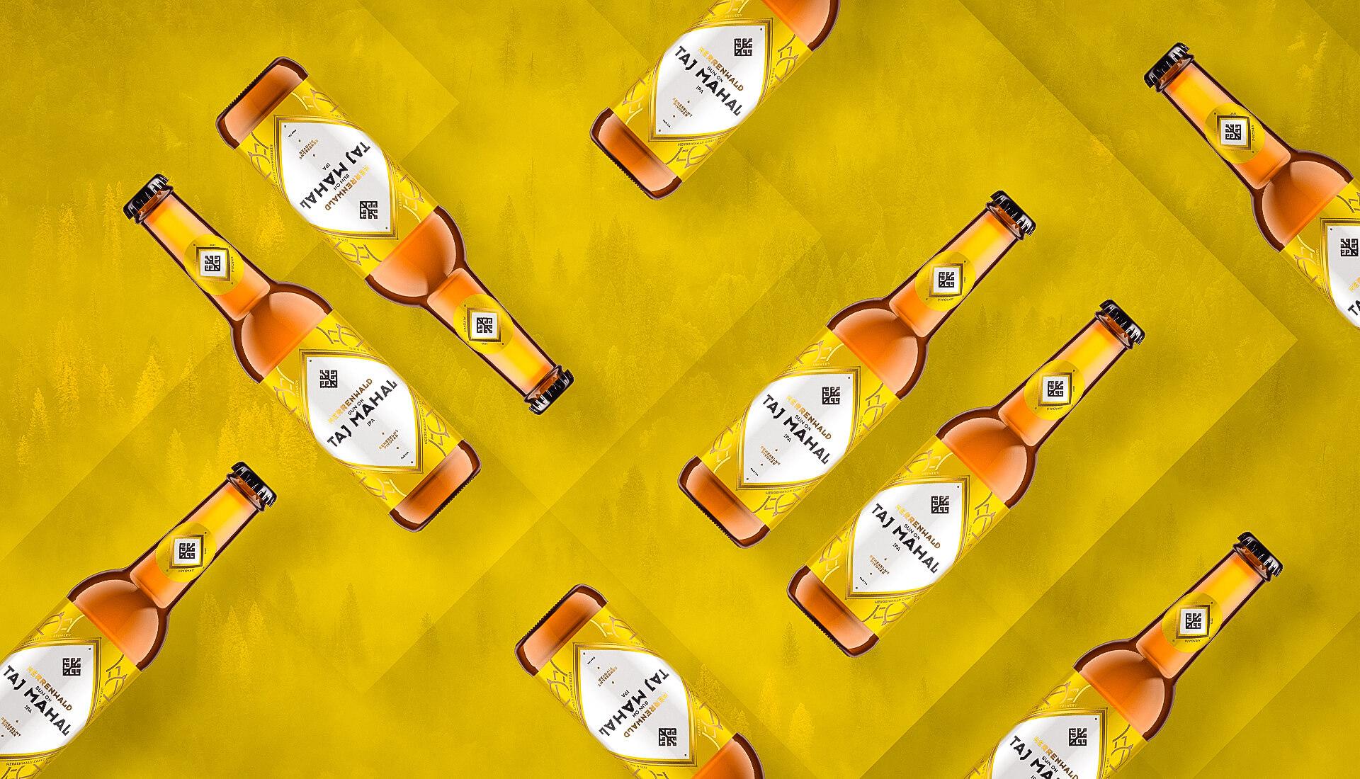Etiketa na pivo, obalový dizajn TAJ MAHAL remeselný pivovar HERRENWALD 0.33L