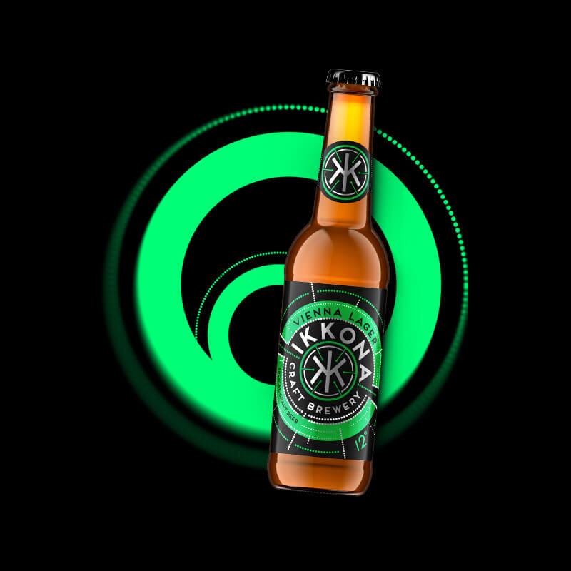 Etiketa na pivo, obalový dizajn Vienna Lager pre remeselný pivovar IKKONA