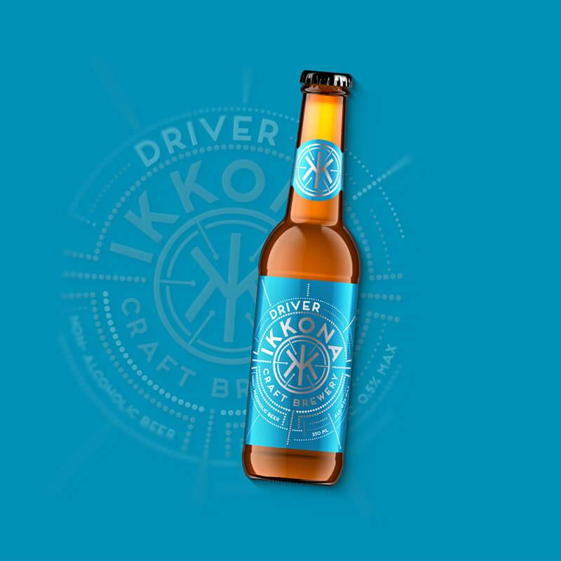 Etiketa na pivo, obalový dizajn nealkoholické pivo DRIVER pre remeselný pivovar IKKONA