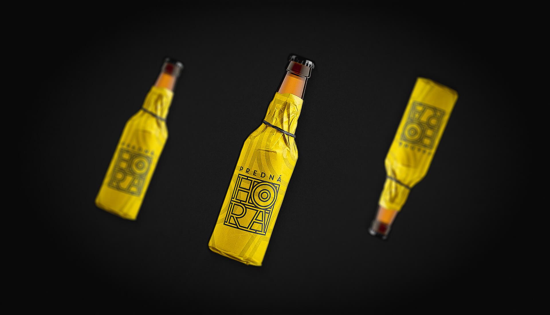 Etiketa na pivo, obalový dizajn wrap na fľašu žltý Predná Hora