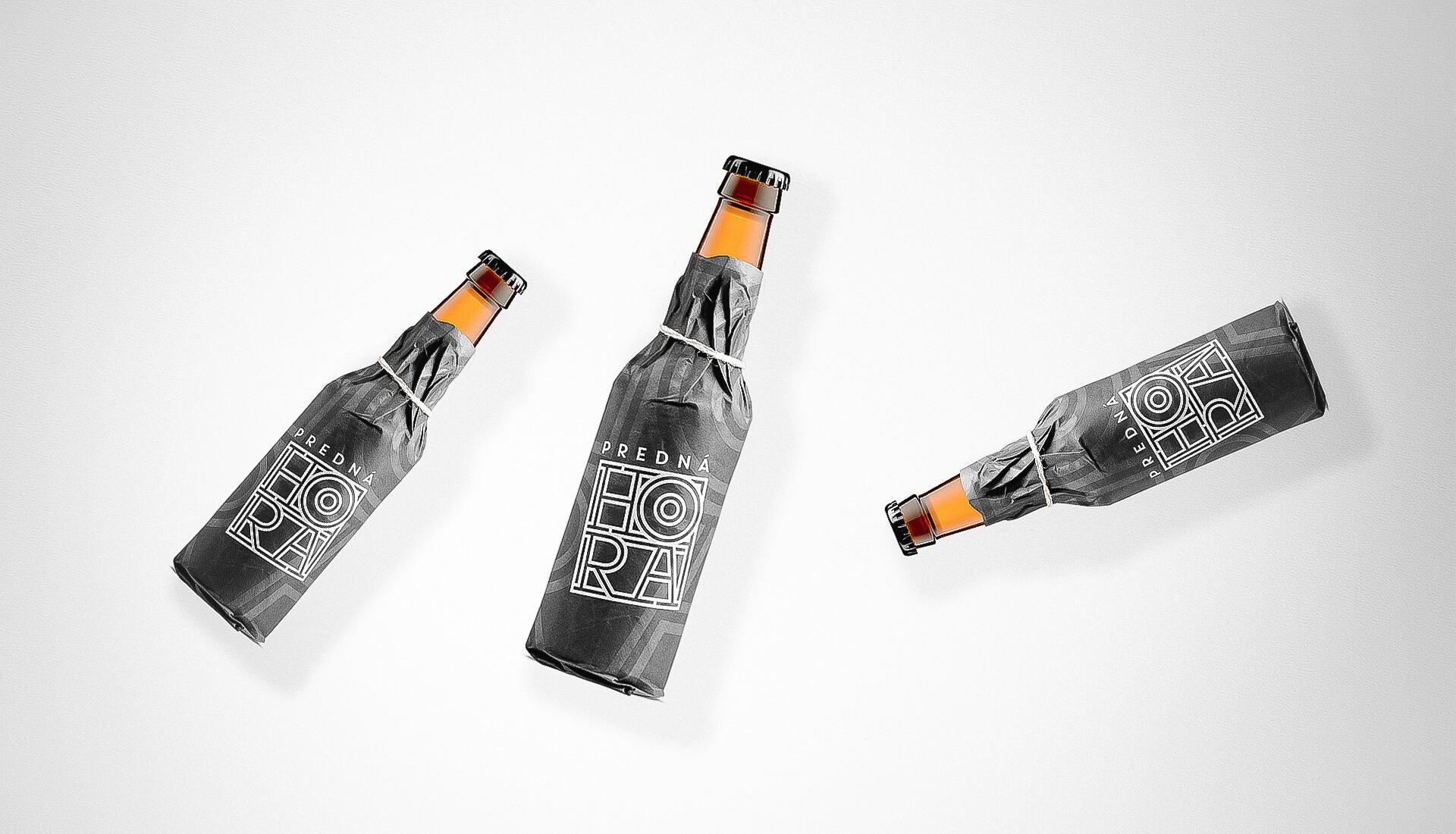 Etiketa na pivo, obalový dizajn wrap na fľašu Predná Hora