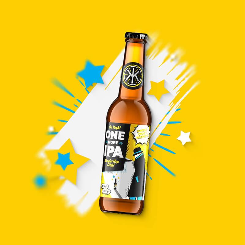 Etiketa na remeselné pivo ONE MORE IPA Citra pre remeselný pivovar IKKONA 0.33