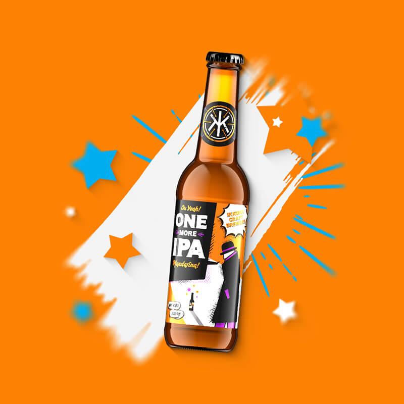 Etiketa na remeselné pivo ONE MORE IPA Mandarina pre remeselný pivovar IKKONA 0.33