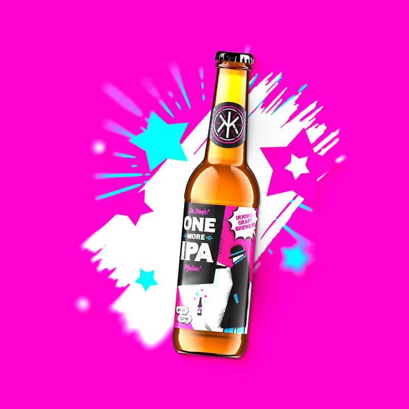Etiketa na remeselné pivo ONE MORE IPA Melon pre remeselný pivovar IKKONA 0.33