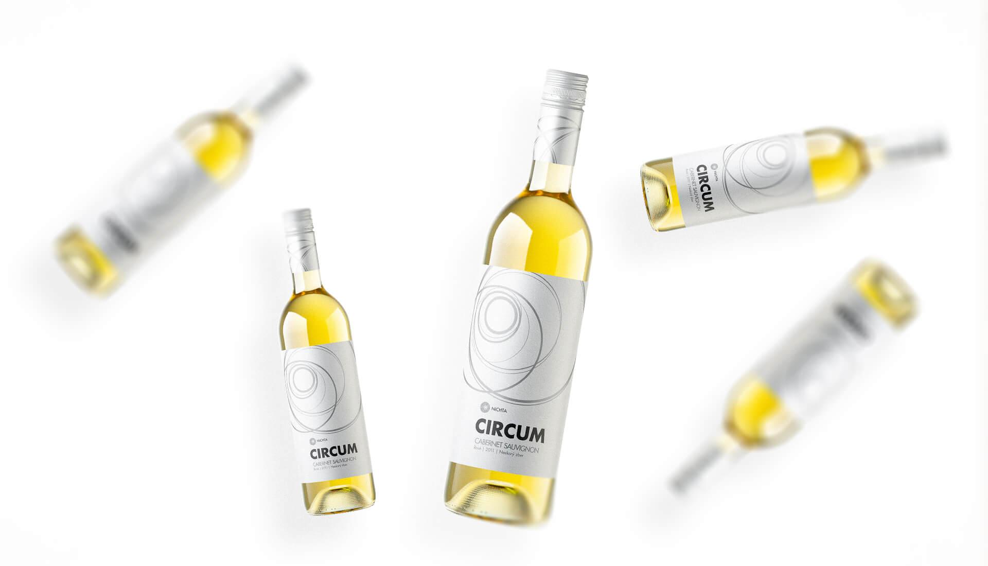 Etiketa na víno obalový dizajn NICHTA CIRCUM biele víno