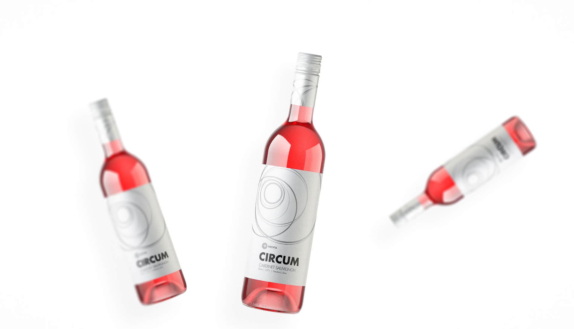 Etiketa na víno obalový dizajn NICHTA CIRCUM ružové víno
