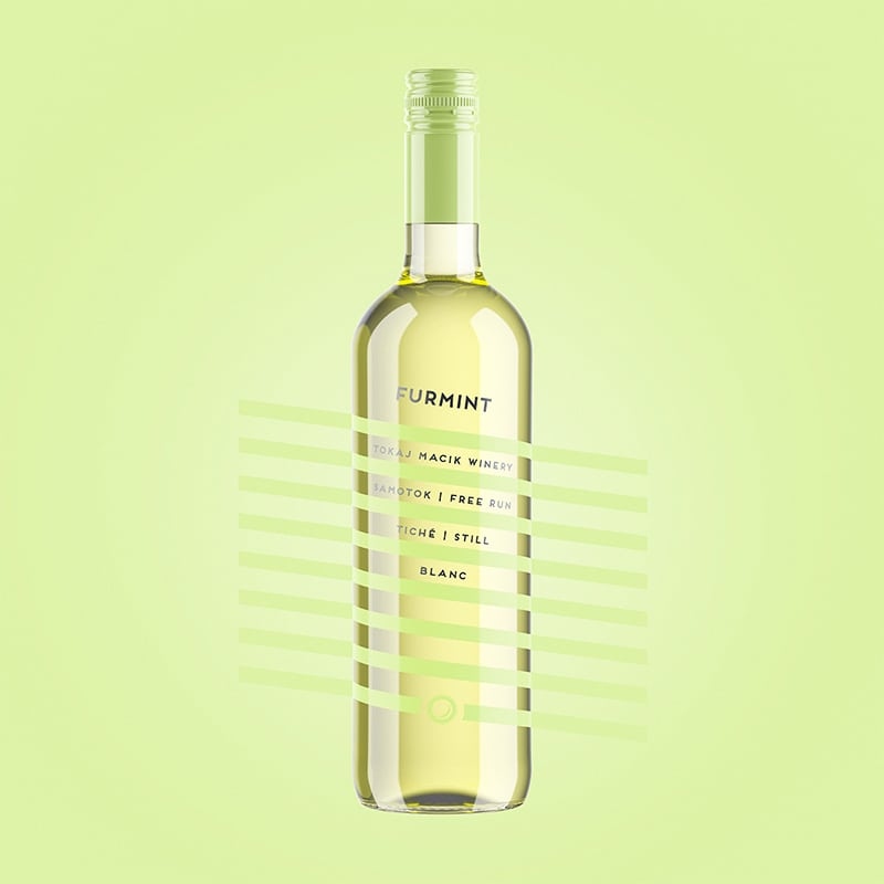 Wine label, packaging design Furmint - Free Run for TOKAJ MACIK WINERY