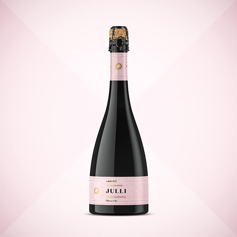Wine label, packaging design JULLI rose sekt for TOKAJ MACIK WINERY